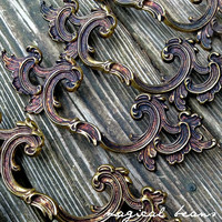 """French Provincial 6"""" Brass Pull in Solid Brass, Vintage Hardware, Authentic KBC Salvaged Restoration Handle"""