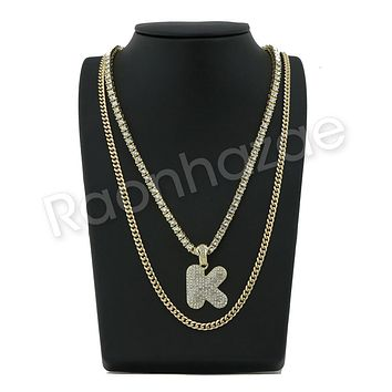 "ICED OUT K INITIAL BUBBLE PENDANT W/ 24"" MIAMI CUBAN /18"" TENNIS CHAIN NECKLACE"