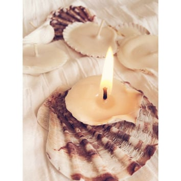 Mixed Small Seashell Candles - Soy Wax Tea Lights, Beach Wedding Favors, Mermaid gifts