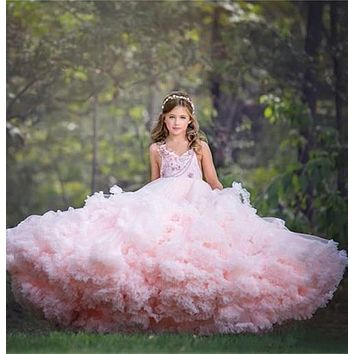 Pink Cloud Princess Puffy Flower Girl Dresses Wedding Party Prom Gown Girls Pageant Birthday Custom Made Size 2 4 8 10 14