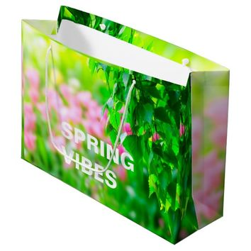 Birch leaves tulip flowers customizable large gift bag