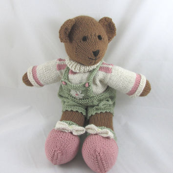 Hand Knit Brown Alpaca Bear