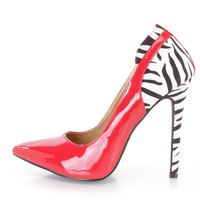 Red Animal Print Single Sole Pump High Heels Patent