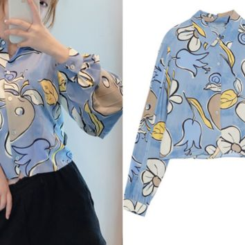 New women's short floral print shirt with loose sleeve