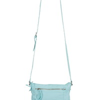 Zipper And Buckle Front Crossbody Bag