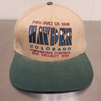 90's Hayden Colorado Leather Strapback Hat Emissions Project Vintage Promotional Tourist Hat/ Dad Hat Made in USA