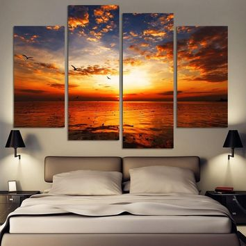 4 Panel Modern Printed Sea Wave Landscape Painting Picture Cuadros Canvas Art Seascape Painting for Living Room No Frame No Fram