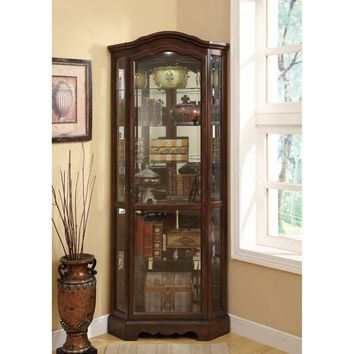 5 Shelf Corner Curio Cabinet With Shaped Crown & Base, Brown By Coaster