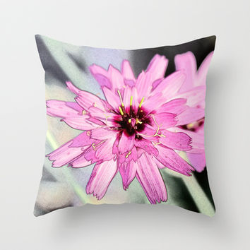Pretty purple daisy flower color sketch. Floral photo art. Throw Pillow by NatureMatters
