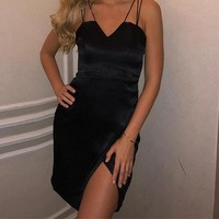 Rishima Black Double-Strapped Cocktail Dress