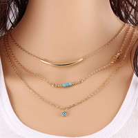 Long Pendant Necklaces Gold Plated Fatima H   Evil Eye 3 Layer Chain Necklace multilayer Necklaces SM6