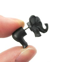 Fake Gauge Earrings: 3D Elephant Shaped Animal Front and Back Stud Earrings in Black