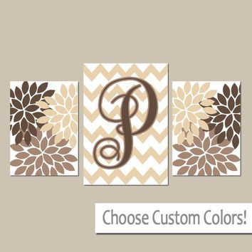 Monogram Wall Art, CANVAS or Prints Brown Beige Bedroom Pictures, Last Name Initial Decor, Wedding Gift Anniversary Set of 3 Flower Burst