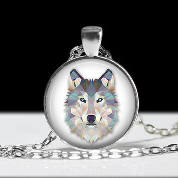 Vintage grey wolf white wolf pendant necklace locket glass pendant gift