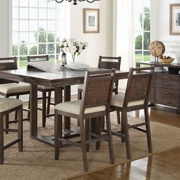 7 pc Bridget II collection distressed dark wood finish counter height dining table set with padded seat chairs