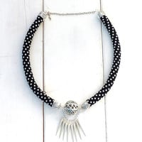 Black necklace. Rock necklace. Tribal jewelry. Spikes necklace. Punk necklace. Bold necklace. Women jewelry. African statement. Fashion