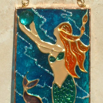 Redhead Mermaid Stained Glass Wall Hanging Blonde Mermaid Decor Suncatcher Beach Art Stained Glass Panel Gift for Mom Girls Wall Jewelry