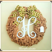Burlap Wreath-Spring Burlap Monogram Wreath-Monogram Burlap Wreath-Front Door Monogram Wreaths-Everyday Burlap Wreath-Front Door Decoration