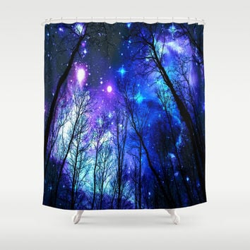 black trees purple blue space Shower Curtain by 2sweet4words Designs