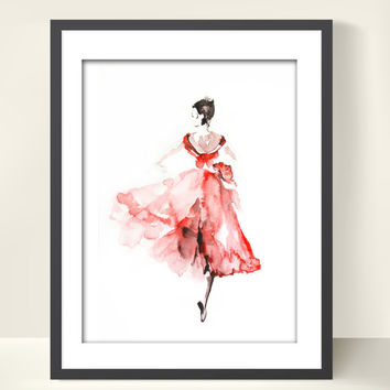 Ballerina Watercolor Painting Art Print, Ballerina in Pink, Ballerina Painting, Watercolor Art, Dance Art