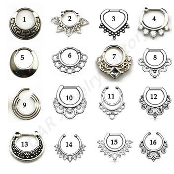 SHUIMEI Titanium G23 Tribal Fan Real&Fake Piercing Septum Clicker Flower Petals With CZ Gem Nose Rings Jewelry 16g Sold By Piece