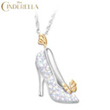 Disney Cinderella Swarovski Crystal Shoe Pendant Necklace