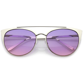 Women's Oversize Laser Cut Cat Eye Sunglasses C207