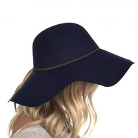 Getting Heated Wool Floppy Hat In Navy Blue