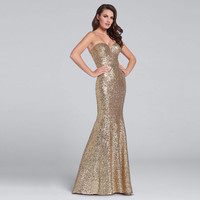 Robe De Soiree Custom Made Sexy Strapless Sequined Mermaid Formal Long Evening Dress Open Back Party Prom Gown Vestido de Festa