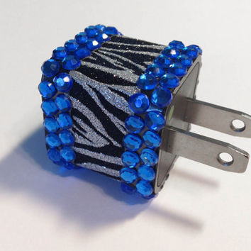 Zebra Glitter & Blue Rhinestone iPhone USB Charger by VanityCases