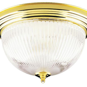Two-Light Indoor Flush-Mount Ceiling Fixture, Polished Brass Finish with Crystal Ribbed Glass