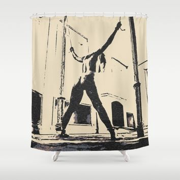 Bad girls deserve punishment, sweet sweet pain, BDSM, bondage, dark whipping pose, sexy girl nude Shower Curtain by Peter Reiss