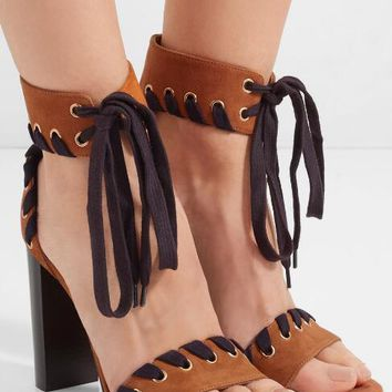 Brown Suede Leather Chunky Heel Sandals Shoelace Ankle Lace Up High Heels Shoes