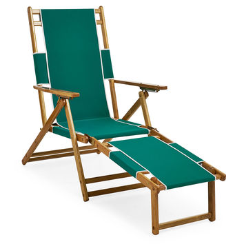 Florida Chair & Footrest, Green, Outdoor Chaise Longues