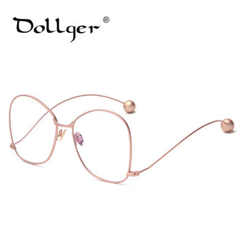 Dollger Glasses Women Optical Big Frame Fashion Women Glasses Curved Hook Feet Plain Mirror s1229