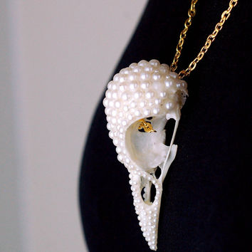 NEW for Summer 2015 OOAK REAL jackdaw skull hand painted rhinestone pearl rhinestones Taxidermy gold chain skull necklace