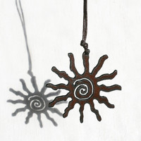 Rusted Iron Sun Necklace