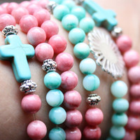 Bohemian Turquoise Cross Coral Beaded Bracelet by PoshAdornments