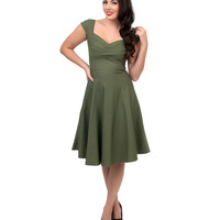Stop Staring! Mad Style Olive Green Cap Sleeve Swing Dress