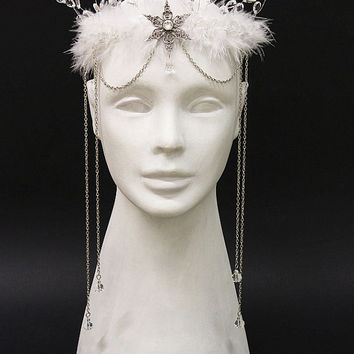 Winter ice queen crown - costume headdress tiara with icicles, crystals and snowflakes - Fantasy costume