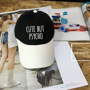 Cute but Psycho Baseball Cap, Hipster,  Low-Profile Baseball Cap Hat Tumblr Inspired Pastel Pale Grunge