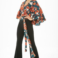 Floral Print Faux-Wrap Top