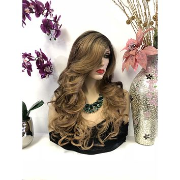 Brown Dark Blond Brunette Balayage Ombre Swiss Lace Front Wig 22 Inches   Deep Side Parting   Volume Curls Layered Hair   Pearl 1018 26