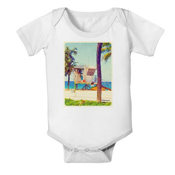 Lifeguard Station Watercolor Baby Romper Bodysuit