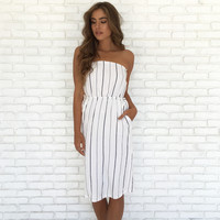 Sea My Stripes Midi Dress