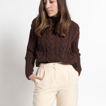 Vintage 90s Brown Cropped Cable Knit Turtleneck Sweater | M