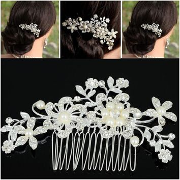 1pc Floral Wedding Tiara Sparkling silver plated Crystal simulated pearl Bridal Hair Combs Hairpin Jewelry Hair Accessories New