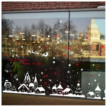 LHBL DIY White Snow Town Christmas Wall Stickers Window Glass Festival Decals Murals Christmas Decoration Home Decor Wallpaper