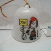 Peanuts Mini Bell Snoopy & Peppermint Patty Joy Holiday Ornament Book Piece! Japan