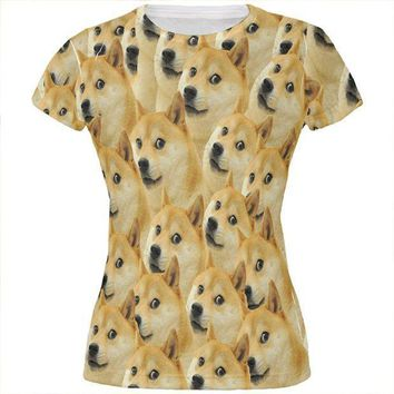 PEAPGQ9 Doge Meme Funny All Over Juniors T Shirt